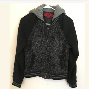 Coffeeshop Blk Gray M Hooded Varsity Jacket (hh)
